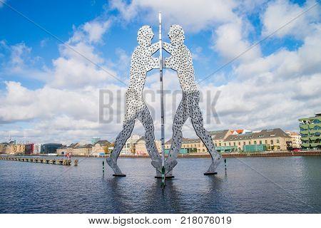 BERLIN - OCTOBER 22 2017: Molecul Man sculpture in Berlin Germany.Sculptures designed by American artist Jonathan Borofsky.