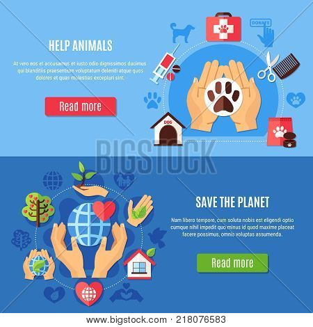 Set of two horizontal charity banners with veterinary equipment and environmental protection symbols with read more button vector illustration