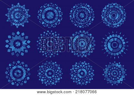 Vector semi-transparent unusual creative shape snowflakes on a blue background