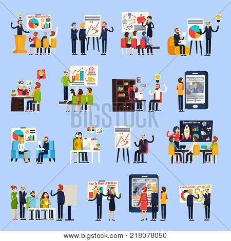 Business coaching orthogonal people during corporate trainings, personal mentoring, online courses isolated on blue background vector illustration