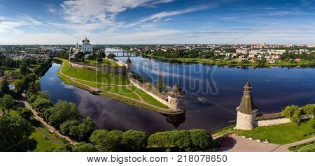 Aerial panorama view of Pskov Kremlin and Trinity Cathedral church, Russia