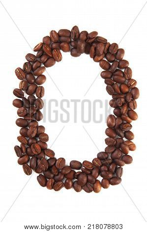 Number 0 made of coffee beans isolated on white. Concepts: alphabet logo creative coffee hand made words symbols.