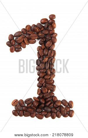 Number 1 made of coffee beans isolated on white. Concepts: alphabet logo creative coffee hand made words symbols.