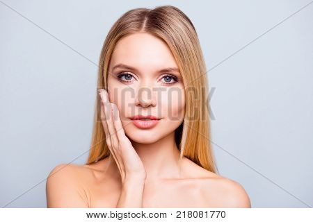 Close Up Portrait Of Gorgeous Beautiful And Good-looking Young Woman With Flawless Skin, Smooth Heal