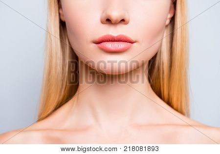 Close Up Cropped Photo Of Attractive Woman's Lips Without Lipstick And After Having Shape Correction
