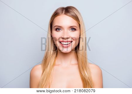 I'm In Favour Of Natural Beauty! Close Up Portrait Of Happy Woman With Perfect Beaming Smile, Clean