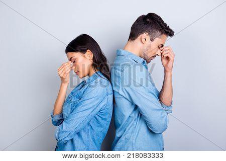 He Vs She Portrait Of Caucasion Hispanic Couple In Jeans Shirt - Man With Bristle And Pretty, Attrac
