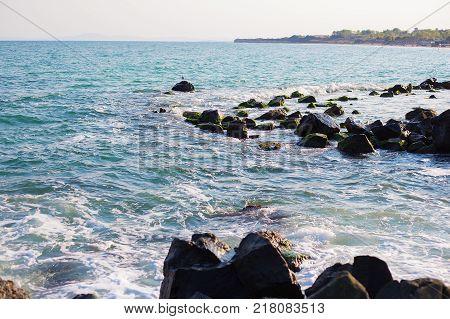 Stony sea coast of Bulgaria-sun, sea, beach