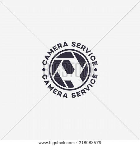 Camera service logo template design. Vector illustration.