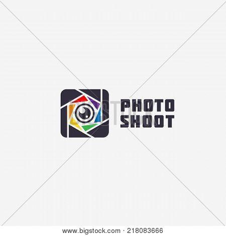 Square photo studio logo template design. Vector illustration.