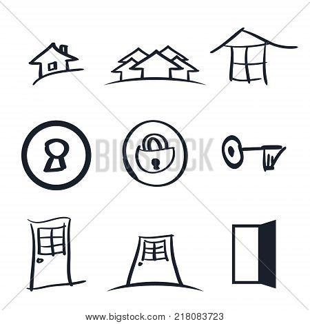 Set of nine realestate logos vector illustration