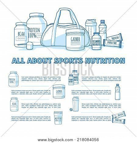 Design of the banner about sports nutrition. Infographics for healthy nutrition of athletes. Template flyer or brochure about supplements and vitamins to the diet of bodybuilders. Vector