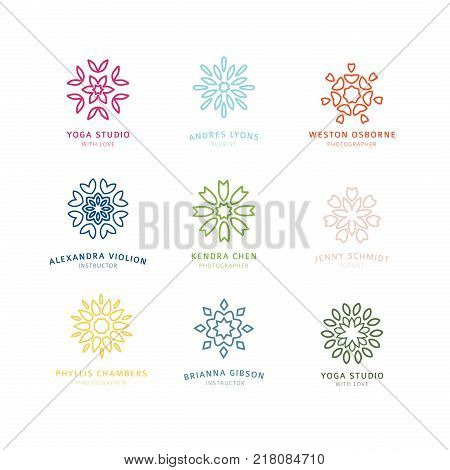 Set vector template design colored logo with swirl decoration element. Abstract sign for personal identity.  Abstract elegant line flower circle symbol for yoga, organic or personal concept