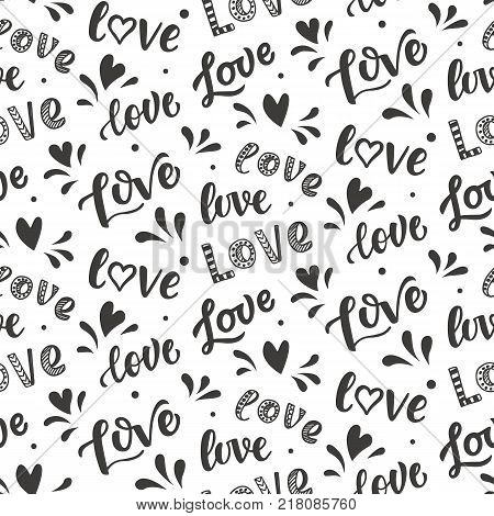 Seamless pattern with hand drawn Love lettering. Modern calligraphy words and hearts doodle, Isolated on white
