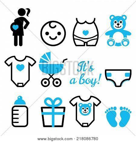 Baby boy shower vector icons set, pregnant womant with boy, newborn baby design