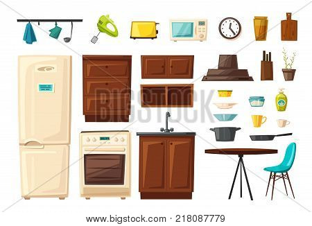 Set of kitchen interior with furniture and tools. Cartoon vector illustration. Table, stove, cupboard, cooker and fridge. Home indoor, kitchen appliances furniture. Cooking banner. For web and print