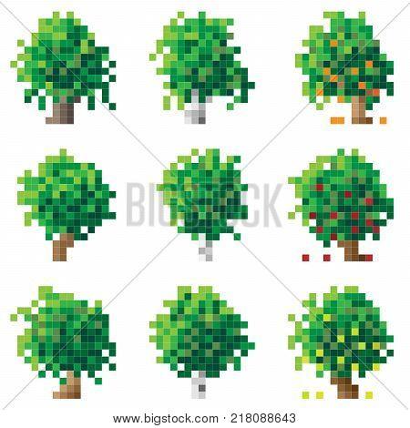 Set of simple green pixel tree birch oak apple-tree (16x16 cells).