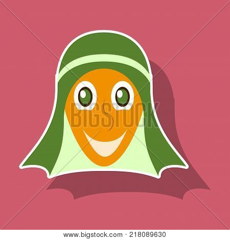 realistic paper sticker on theme Arabic business arabic man smiling