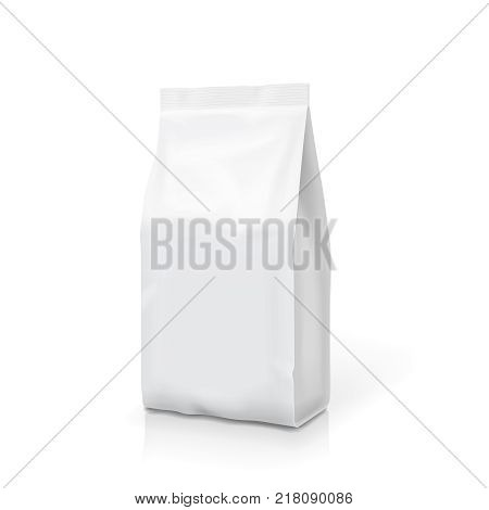 White foil or paper food stand up snack bag clipping path. Blank sachet 3d illustration.