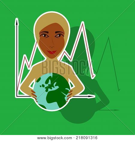 realistic paper sticker on theme Arabic business woman and economic graph