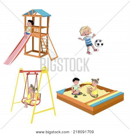 Happy kids playing at the playground. Vector illustration