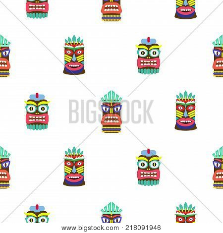 Colorful tiki mask seamless pattern vector. Hawaiian culture white texture background.
