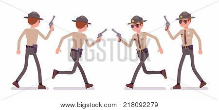 Male sheriff walking, running with handgun. Chief executive officer in official uniform keeping street peace. Law and justice concept. Vector flat style cartoon illustration isolated, white background