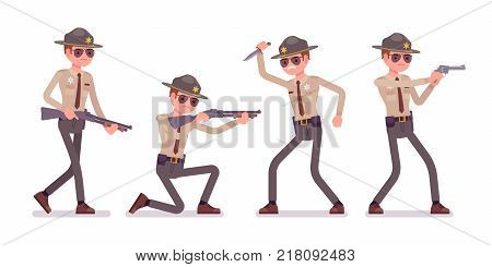 Male sheriff and weapons. Chief executive officer wearing official uniform equipped with safety devices. Law and justice concept. Vector flat style cartoon illustration isolated on white background