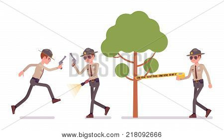 Male sheriff working outdoor. Chief executive officer wearing official uniform on public safety and duty. Law and justice concept. Vector flat style cartoon illustration isolated on white background