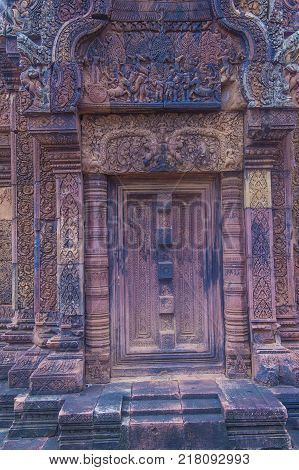 Siem Reap Cambodia - Oct 17 : Details At The Banteay Srei Temple Near Siem Reap Cambodia On October