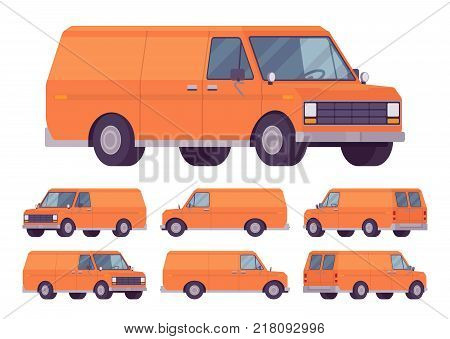 Orange van set. Road vehicle for transporting goods, medium-sized motor delivery truck for commercial service and business needs. Vector flat style cartoon illustration isolated on white background