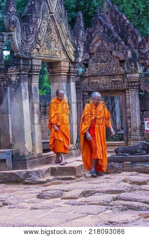 Siem Reap Cambodia - Oct 17 : Monks At The Banteay Srei Temple Near Siem Reap Cambodia On October 17