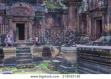 Siem Reap Cambodia - Oct 17 : The Banteay Srei Temple Near Siem Reap Cambodia On October 17 2017 Ban
