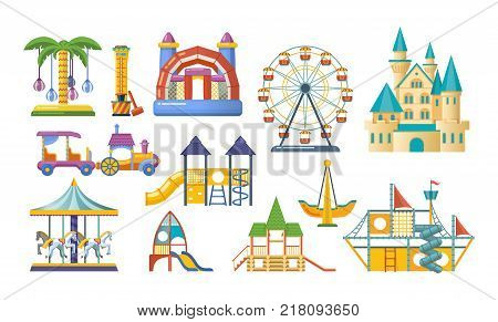 Children entertainment playground, recreation park. Gaming complex, swing, tower, carousel, locomotive, tower, ferris wheel Amusement park composition with entertainment Vector flat illustration