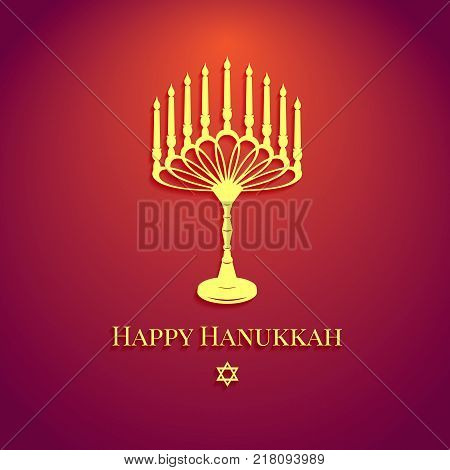 Happy Hanukkah inscription greeting card with typography old design. Beautiful poster on red background. Vector illustration EPS 10