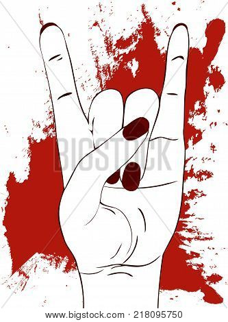 Heavy metal hand gesture. Rock festival poster.  Rock-n-roll sign with red paint stains on white background. Template for slogan, poster, flyers, banner and etc. Vector illustration.