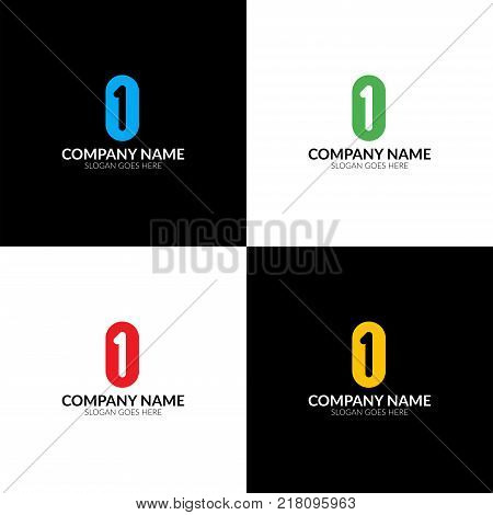 Vector illustration. Letter 1 and 0 logo, icon flat and vector design template. Monogram the one and zero logotype for brand or company with text.
