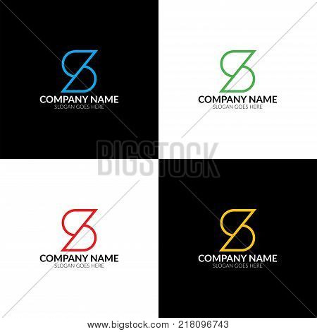 Vector illustration. Letter S logo, icon flat and vector design template. The letter s logotype for brand or company with text.