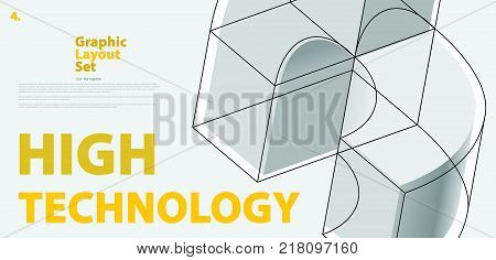 Graphic layout set with abstract curved vector shape, reminiscent of technological development, nanotechnology component. Isometric brand of high technology institution, research center or laboratories.