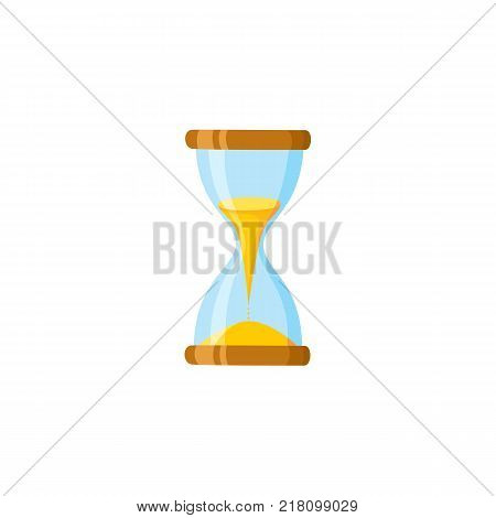 vector flat table simple vintage sand hourglass, sandglass clock icon for your design. Isolated illustration on a white background.
