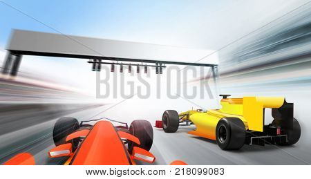3D illustration of formula one cars driving at high speed lap - motion blur