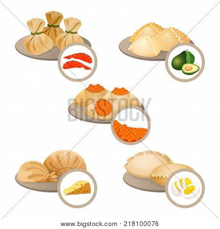 Dim-sum treats in plates set wrapped dough with shrimps, cheese and egg, dim sum with avocado and red caviar vector illustration isolated on white