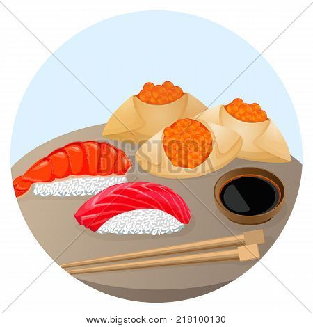 Served Chinese food dim sum with rice covered by shrimp and salmon, fried steamed dumplings with red caviar vector illustration isolated on white