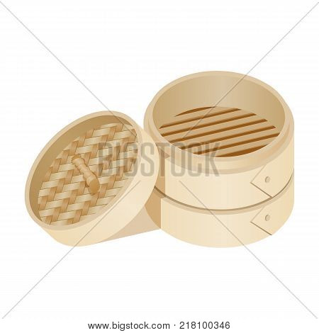 Traditional dim sum empty basket made of bamboo material, package for carrying chinese food vector illustration isolated on white background