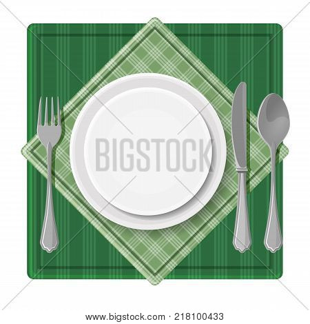 Served dinner plate with cutlery spoon fork and knife on green checkered napkin vector illustration banner top view isolated banquet serving design
