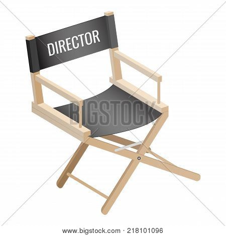 Director empty chair isolated on white background. Workplace of film maker, luxury seat of producer vector illustration piece of furniture