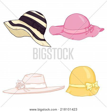 Vector Set of Cartoon Color Women Hats on White Background