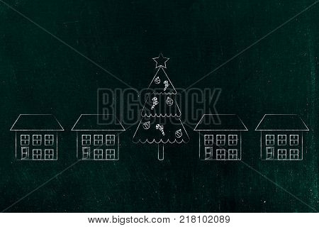 Chirstmas and holiday celebrations conceptual illustration: decorated tree among neighbourhood houses