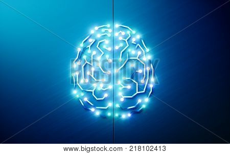 Printed circuits brain. Concept of artificial intelligence, deep learning, machine learning, smart autonomous robotic technology on blue background.