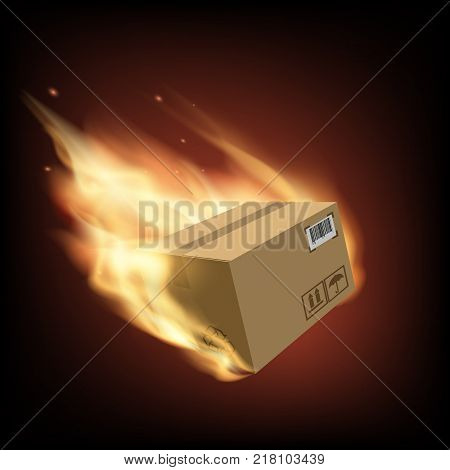 Box on fire. Cargo delivery. Free and fast freight transportation around the world. Parcels by mail. Stock vector illustration.